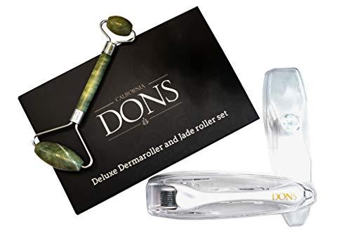 California Dons 2 In 1 Premium Derma Roller And 100% Jade Roller Skin Care Set,