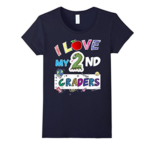 Womens I Love My Second Graders T-Shirt for 2nd Grade Teachers Medium Navy