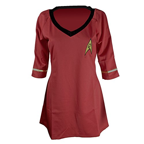 [Allten Women's Costume Star Trek Dress Half-sleeves Embroidery Badge Red Shirt L] (Red Star Trek Dress)
