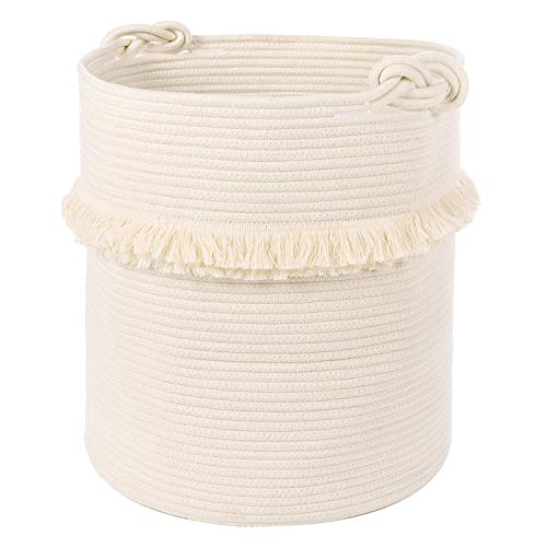Extra Large Woven Storage Baskets - 17'' x 16'' Cotton Rope Decorative Hamper for Magazine, Toys, Blankets, and Laundry, Cute Tassel Nursery Decor - Home Storage Container ()