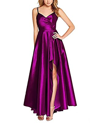 Now and Forever Women's High Low Satin Prom Dress Spaghetti Straps A Line Cocktail Party Dresses