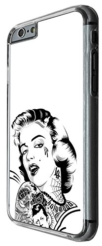 1554 - Cool trendy fun cute Marilyn Monroe Tattoo Hair fashion Design iphone 4 4S Coque Fashion Trend Case Coque Protection Cover plastique et métal - Clear