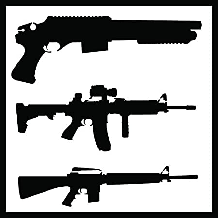 Includes Pistols /& Long Guns! STENCIL-GUNSET01-10 Pair of Sheets 2 Piece Kit Detailed Hand Guns /& Rifles Stencil Set Auto Vynamics 10-by-10-inch Sheets -