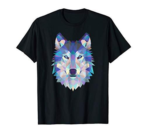 (Wolf Geometric Art Howling Moon Animal Graphic T-Shirt)