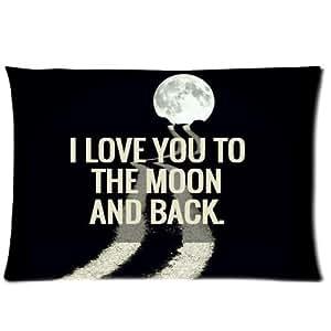 Diseño de la funda de almohada de moda de I love You to the Moon and Back pillow Case decorative cushion tiro con diseño de funda de almohada de moda de 20 * 30 pulgada{0} (doble de dos caras) con cremallera para sofá