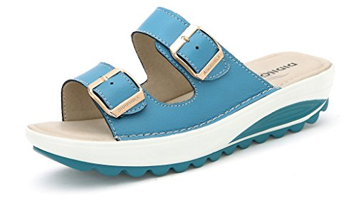 SUNROLAN 921lan39 Demi Women's Slide Sandal Strap Bucket Slip On Shoes Wedge Platform Sandals Blue US 7.5