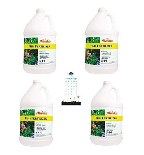 Alaska Fish Emulsion Fertilizer 5-1-1 Concentrate, Wholesale Case of 4 Gallons + Garden Smart Liquid Conversion Chart Magnet