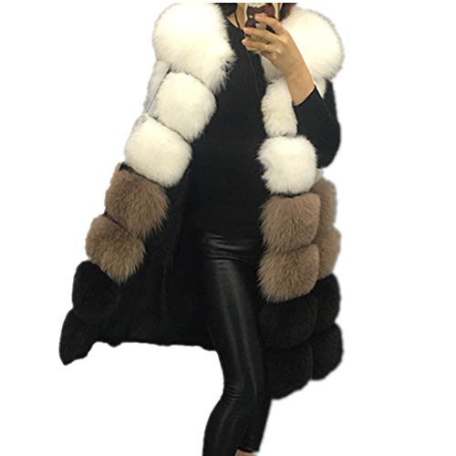 Lisa Colly Winter Women's Fur Vest Coat Warm Long Vests Fur Vests Women Faux Fur Vest Coat Outerwear Jacket (M, White)