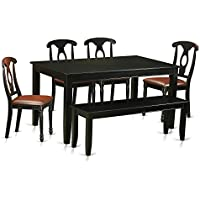 East West Furniture DUKE6-BLK-LC 6 Piece Table and 4 Kitchen Chairs Coupled with A Bench Set