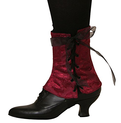 Historical Emporium Women's Steampunk Reversible Satin Brocade Spats S/M -