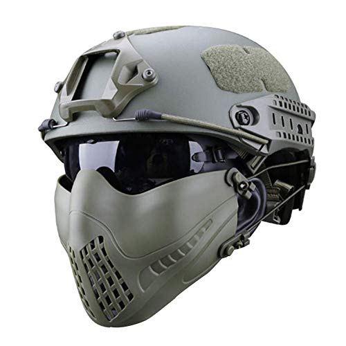 LUCKYYAN Half Face Lower Mask Mesh Tactical Mask, Can Work with Fast Helmet, UV Protection Goggles Combination Set, Used for Airsoft Paintball Hunting Shooting CS,Green (Best Helmet Goggle Combination)