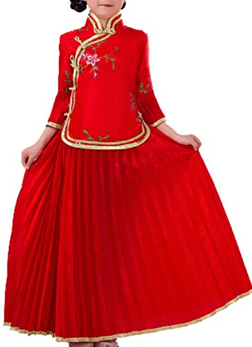 Chinese National Costume (SIYUANGE Chinese National Ancient Costumes Halloween Cosplay Guzheng Show Dress For Girls (Red, 130))