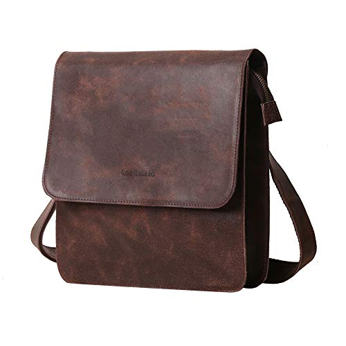 (Distressed Frosted Leather Crossbody Bag for men Shoulder Rustic Vintage Messenger Bag For Kindle iPad Tablet Flap over Satchel Rucksack Bag)