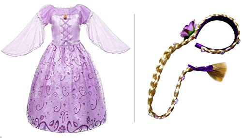 Princess Rapunzel Dress Costume and Braided Wig for Girls Cosplay Birthday Party (120 -