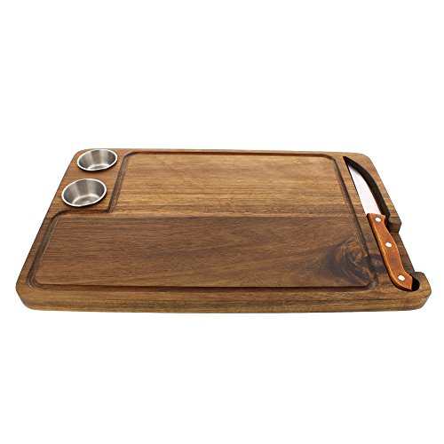 Yukon Glory Premium Steak Cutting Board 100% Acacia Wood - with Juice Groove, Steak Knife, and Condiment Cups. Best Birthday Gifts for Men! (Knife Holder Guy)