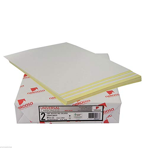 8.5 x 11 Nekoosa Universal Carbonless Paper, 2 Part Reverse (Bright White/Canary), 2500 Sets, 5000 Sheets, 10 Reams