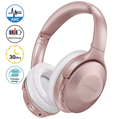 Pink Active Noise Cancelling Headphones, Mpow 45Hrs Playtime Bluetooth 5.0 Headphones with Microphone, USB-C Quick…