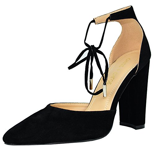 (Chase & Chloe Women's D'Orsay Pointed Toe Ankle Tie Stacked Block Heel,10 B(M) US,Black)
