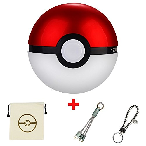 BKING-BOX Pokemon Go 12000mAh Power Bank USB Dual Battery Poke Ball Travel Portable Charger With Keychain+Small Pokeball Drawstring Bag+ 2 in 1 Multiple USB Charging Cable for IOS and Android Devices Photo - Pokemon Gaming