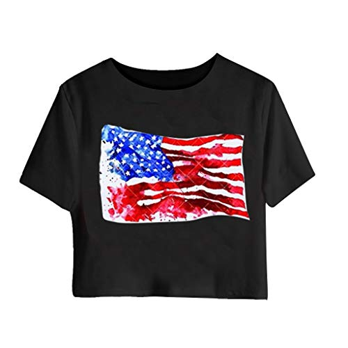 Smdoxi Summer Women's Navel Short Sleeve Independence Day American Flag Print Fashion Casual Jacket Black]()