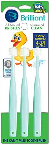 Brilliant Baby Toothbrush by Baby Buddy - For Ages 4-24 Months, BPA Free Super-Fine Micro Bristles Clean All-Around Mouth, Kids Love Them, Mint, 3 Count