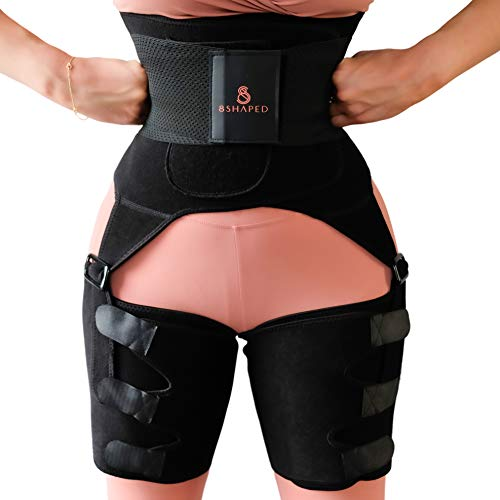 8S Waist and Thigh Trainer for Women 3 in 1 with Instant Butt Lift – Stylish High Waist Adjustable Double Belt…