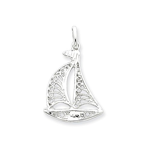 .925 Sterling Silver Filigree Sailboat Charm Pendant