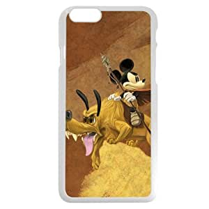 """Customized White Plastic Disney Cartoon Micky Mouse & Pluto Dog iPhone 6 4.7 Case, Only fit iPhone 6 4.7"""""""