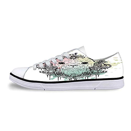 Animal Soft Low Top Canvas ShoesFrench Bulldog with Floral Wreath on Brushstroke Watercolor Print for Women,US 12