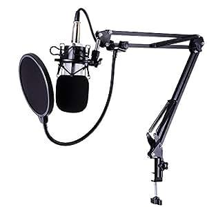 AW BM-700 Studio Recording Condenser Microphone & NB-35 Adjustable Suspension Scissor & Shock Mount & Pop Filter