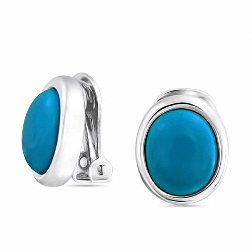 Basic Oval Blue Bezel Set Dome Button Style Clip On Earrings For Women Non Pierced Ears Silver Plated Brass