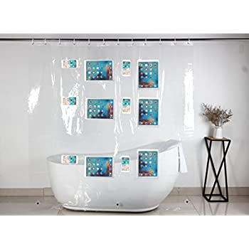 Clear Shower Curtain Liner With 12 Touch Pockets For IPad Phone Tablet Baby Monitor