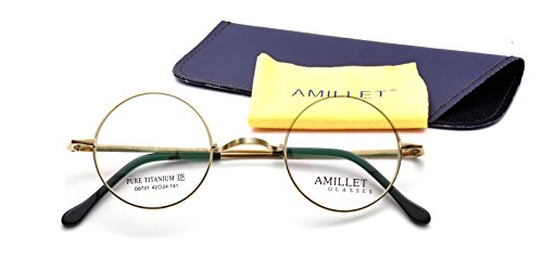 Amillet 42mm Retro Round Titanium Prescription Eyeglass Frames,for Men and Women,Rx-able,0.4 oz - Eyeglasses For Face Round