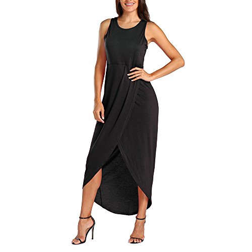 【MOHOLL】 Womens Dresses Strappy Sleeveless Side Split Casual Summer Beach Midi Dress Black