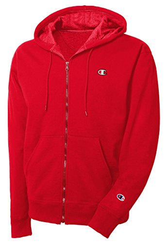Champion LIFE Men's Reverse Weave Full-Zip Hoodie, Team Red Scarlet/Left Chest C Logo and Sleeve Patch, Large