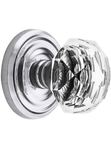 Rosette Chrome Polished Classic (Classic Rosette Set With Diamond Crystal Door Knobs Dummy Polished Chrome. Old Door Knobs.)