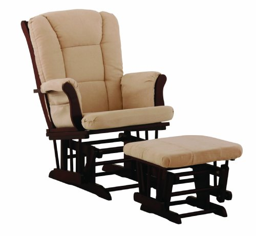 Storkcraft Tuscany Glider and Ottoman, Cherry/Beige ()