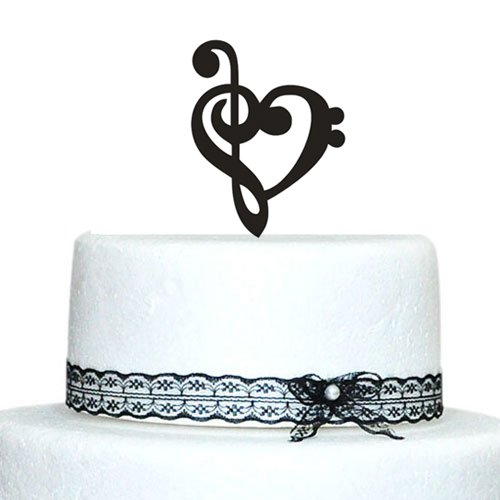 Com Throw Customized Music Note Wedding Cake Toppers With Heart Design Kitchen Dining