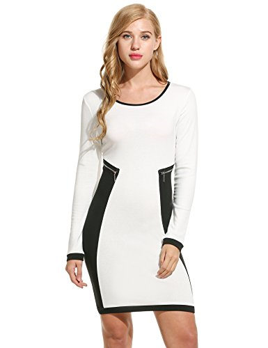 [Zeagoo Women's Casual Patchwork Long Sleeve O-Neck Stretch Mini Pencil Dress] (White Party Outfit Ideas)