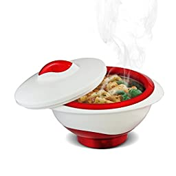 Pinnacle RED Serving Salad/ Soup Dish Bowl - Insulated with Lid - Lux Designed- Great Center Piece Bowl for Holiday