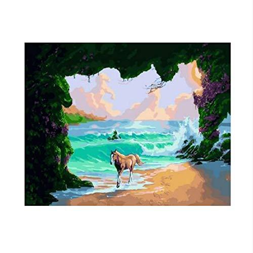 XIGZI Delphine Und Meerjungfrauen DIY DIY DIY Malen Nach Zahlen Moderne Wandkunst Bild Handgemalte Ölgemälde Einzigartiges Geschenk nach Hause 40X50 cm,Mit Holzrahmen,E B07MYCKVSL | Modernes Design  7d6e0b