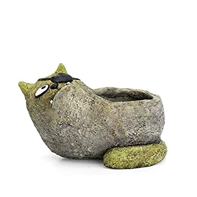 Jack Cat Planter, by Blobhouse, Decorative Planter w/Drain Hole Statue for Home Outdoor Garden Lawn & Indoor Art Accent Sculpture : Garden & Outdoor
