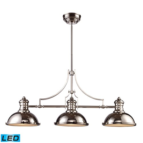 ELK LIGHTING 66115-3-LED Chadwick 3 Light LED Billiard In Polished Nickel