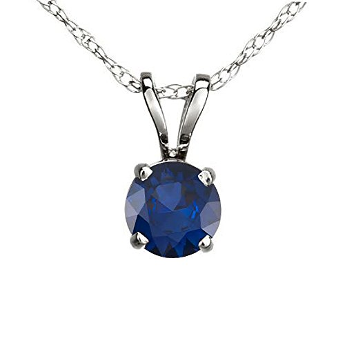 Dazzlingrock Collection 10K Round Blue Sapphire Ladies Solitaire Pendant, White Gold