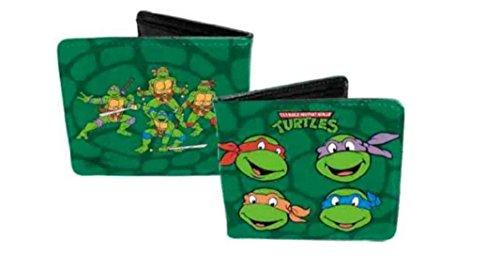 TMNT Ninja Turtle Faces Green Leather Bifold - Turtle Ninja Keychain Lego