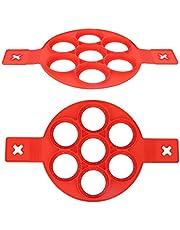Pannkaksform – 2 st silikon non-stick ägg pannkaksform med handtag för gör-det-själv kök bakning matlagning tillbehör