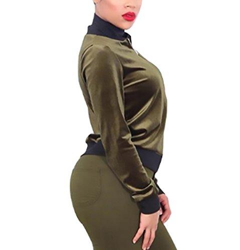 Women Cappotto Corta Tutine Giacca Autunno Donna Giubbotto Giacche Manica Giubbino Slim Verde Baseball Invernali Velluto La Zip Con Lunga Elegante Vintage Fit Bomber Classica Moda Outerwear Abbigliamento 40qqCwxa