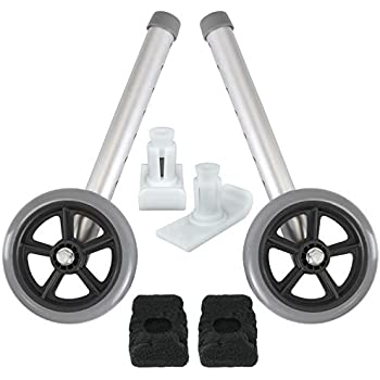 Vive Walker Wheels and Ski Glides - Replacement Feet - Accessories Parts Set for Folding Medical Walkers - Universal Front, Back Stability Safety Wheel ...