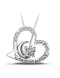 "T400 925 Sterling Silver Necklace ""I Love You to the Moon and Back"" White Cubic Zirconia Moon Heart Pendant Necklace Christmas Gift for Women Girls"