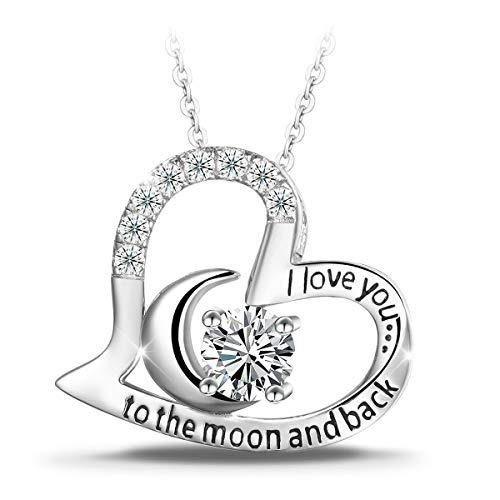 T400 925 Sterling Silver Necklace I Love You to The Moon and Back White Cubic Zirconia Moon Heart Pendant Women Gift